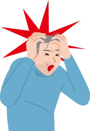 Illustration for Senior citizen  with intense headache - Royalty Free Image