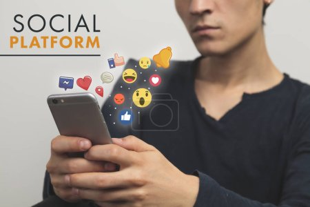 Man using his Mobile Phone, white Background, Internet Social Media Network Digital
