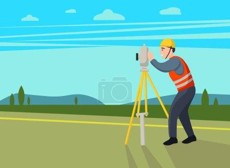 Concepto de topógrafos terrestres. Ingeniero catastral, cartógrafo, personaje de dibujos animados. Ilustración plana del vector.