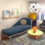Interior of the living room. 3D illustration....
