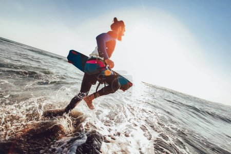 Photo for Portrait of surfer man with surf board on the beach. Summer sport activity - Royalty Free Image