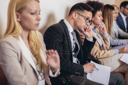 Photo for Photo of candidates waiting for a job interview. Selective focus - Royalty Free Image
