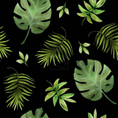Seamless hand drawn  tropic pattern on black background