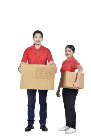 Team of delivery courier with packages isolated over white background