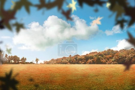 Autumn park with falling leaves. Autumn background