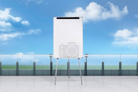 Photo for Standing white board for presentation on office terrace - Royalty Free Image