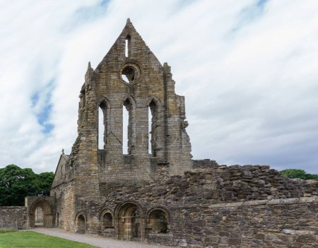 The old transept of Kilwinning Abey in Scotland now in ruins.