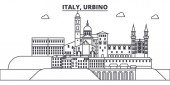 Italy Urbino line skyline vector illustration Italy Urbino linear cityscape with famous landmarks city sights vector landscape
