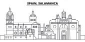 Spain Salamanca line skyline vector illustration Spain Salamanca linear cityscape with famous landmarks city sights vector landscape