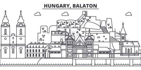 Illustration pour Hongrie, illustration vectorielle de la ligne d'horizon Balaton. Hongrie, Balaton paysage urbain linéaire avec des sites célèbres, sites touristiques, paysage de conception vectorielle . - image libre de droit