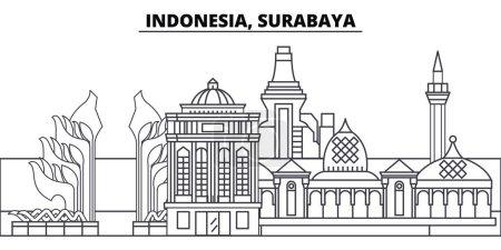 Illustration pour Indonésie, illustration vectorielle de la ligne d'horizon de Surabaya. Indonésie, Surabaya paysage urbain linéaire avec des sites célèbres, sites touristiques de la ville, paysage de conception vectorielle . - image libre de droit