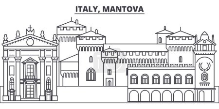 Italy, Mantova line skyline vector illustration. I...