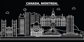 Montreal silhouette skyline Canada - Montreal vector city canadian linear architecture buildings Montreal travel illustration outline landmarks Canada flat icons canadian line banner