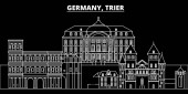 Trier silhouette skyline Germany - Trier vector city german linear architecture buildings Trier travel illustration outline landmarks Germany flat icon german line banner
