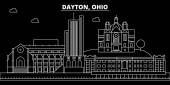 Dayton silhouette skyline USA - Dayton vector city american linear architecture buildings Dayton travel illustration outline landmarks USA flat icon american line banner