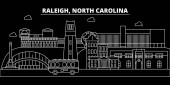 Raleigh silhouette skyline USA - Raleigh vector city american linear architecture buildings Raleigh travel illustration outline landmarks USA flat icon american line banner