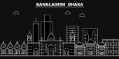 Dhaka silhouette skyline Bangladesh - Dhaka vector city bangladeshi linear architecture buildings Dhaka line travel illustration landmarks Bangladesh flat icon bangladeshi outline banner