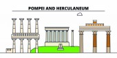 Archaeological Areas Of Pompei -Herculaneum And Torre Annunziata  line travel landmark, skyline, vector design. Archaeological Areas Of Pompei -Herculaneum And Torre Annunziata  linear illustration.
