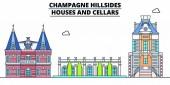 Champagne Hillsides - Houses And Cellars  line travel landmark skyline vector design Champagne Hillsides - Houses And Cellars  linear illustration