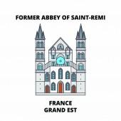 France Grand Est - Former Abbey Of Saint-Remi line travel landmark skyline vector design France Grand Est - Former Abbey Of Saint-Remi linear illustration