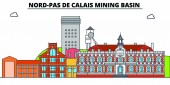 Nord-Pas De Calais Mining Basin  line travel landmark skyline vector design Nord-Pas De Calais Mining Basin  linear illustration
