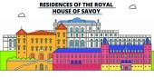 Residences Of The Royal - House Of Savoy  line travel landmark skyline vector design Residences Of The Royal - House Of Savoy  linear illustration