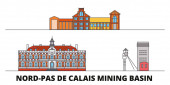 France Nord Pas De Calais Mining Basin  flat landmarks vector illustration France Nord Pas De Calais Mining Basin  line city with famous travel sights skyline design
