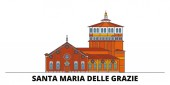 Italy Santa Maria Delle Grazie flat landmarks vector illustration Italy Santa Maria Delle Grazie line city with famous travel sights skyline design