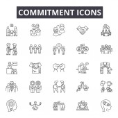 Commitment line icons for web and mobile design Editable stroke signs Commitment  outline concept illustrations