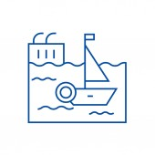 Harbor line icon concept Harbor flat  vector symbol sign outline illustration