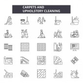Carpets and upholstery cleaning line icons signs set vector Carpets and upholstery cleaning outline concept illustration: upholsterycarpetpictogramservicecleaninglogo