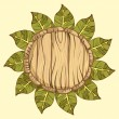 Round frame, wreath of birch leaves on neutral bac...