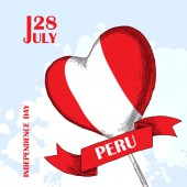Perus independence day July 28rdNational Patriotic holiday of liberation in Latin AmericaA balloon in the shape of a heart the color of the Peruvian flag Hand-drawn shading Vector image