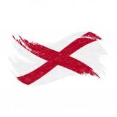 National Flag Of Alabama Designed Using Brush Strokes Isolated On A White Background Vector Illustration