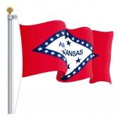 Waving Arkansas Flag Isolated On A White Background Vector Illustration