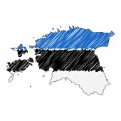 Estonia map hand drawn sketch Vector concept illustration flag childrens drawing scribble map Country map for infographic brochures and presentations isolated on white background Vector