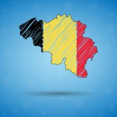 Scribble map of Belgium Sketch Country map for infographic brochures and presentations Stylized sketch map of Belgium Vector illustration