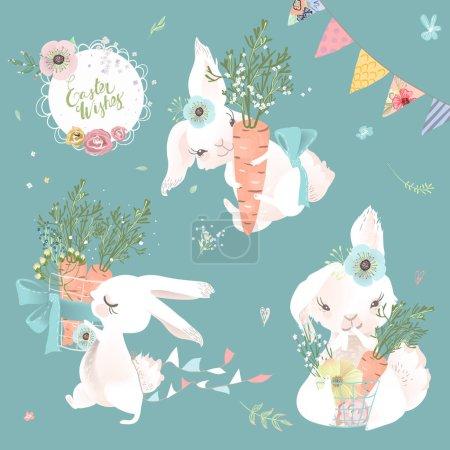 Illustration pour Jolie illustration de lapins de Pâques avec des carottes sur fond bleu - image libre de droit