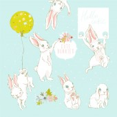 Cute hand drawn woodland white bunnies set