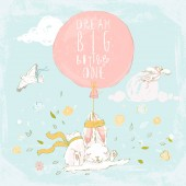Cute hand drawn bunny with flowers balloon pigeons and clouds