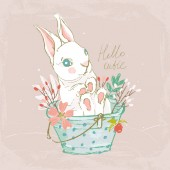 Cute hand drawn bunny in bucket with flowers