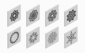 Isometric icons with abstract symmetric symbols Flat 3D tiles geometric logos isolated on light gray background Vector illustration