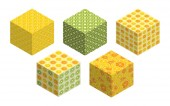 3D cubes with fruit backgrounds on each side Set of spatial figures isolated on white background Flat isometric graphics Summer bright colors Vector colorful illustrations