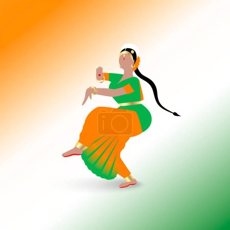 Illustration for Indian dancing woman dressed in a traditional sari dress in national flag colors isolated on white backgroung. - Royalty Free Image