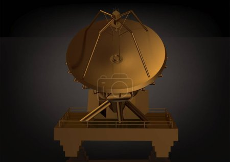 Golden satellite dish on a black background. 3D re...