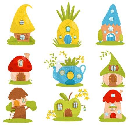 Illustration pour Mignon ensemble de petites maisons, maison de fantaisie conte de fées pour gnome, nain ou elfe vecteur Illustrations isolées sur un fond blanc . - image libre de droit