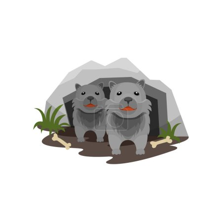 Illustration pour Tanière de loups, petits oursons dans la grotte de pierre vecteur Illustration isolée sur fond blanc . - image libre de droit