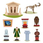 Flat vector set of museum exhibits Mammoth skeleton ceramic vases clothes golden crown famous painting and column