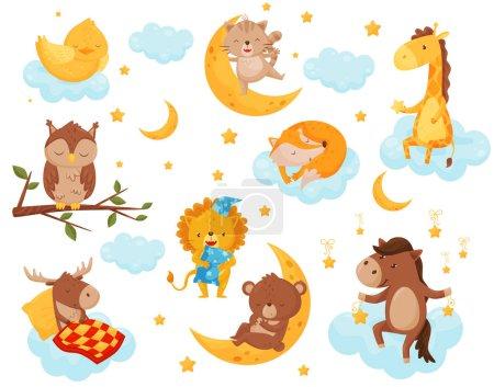 Illustration pour Petits animaux mignons dormant sous un ciel étoilé, charmant poulet, chat, girafe, cheval, ours, cerf, hibou dormant sur les nuages, bon élément de conception de nuit, vecteur de rêves doux Illustration isolée sur un - image libre de droit