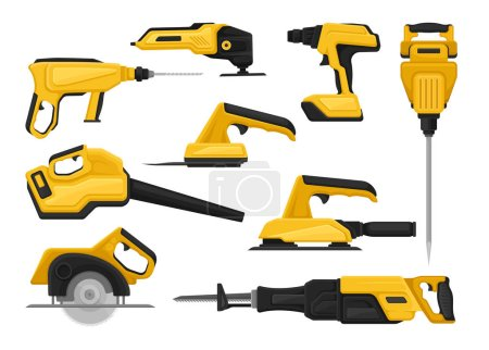 Illustration for Collection of power tools for construction works. Modern building equipment. Graphic elements for promo poster of hardware store. Colorful vector icons in flat style isolated on white background. - Royalty Free Image